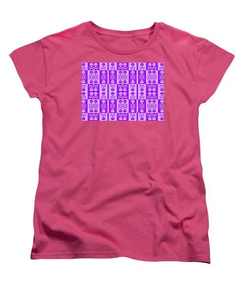 Purple Skull And Crossbones Pattern Women's T-Shirt (Standard Cut) by Roseanne Jones