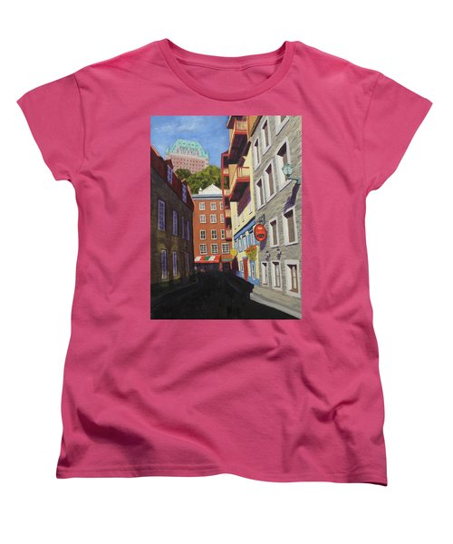 Quebec City Side Street Women's T-Shirt (Standard Cut) by Alan Mager