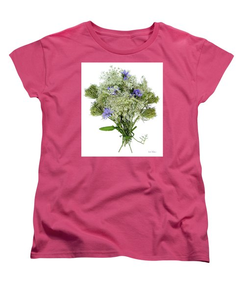 Queen Anne's Lace With Purple Flowers Women's T-Shirt (Standard Cut) by Lise Winne