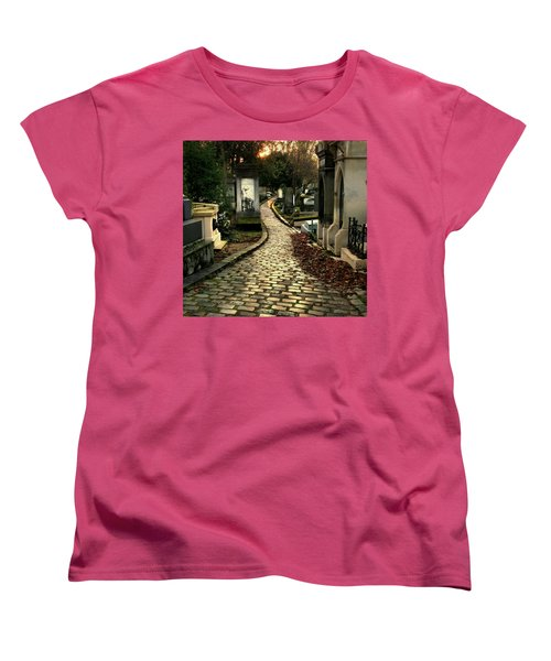 Women's T-Shirt (Standard Cut) featuring the photograph  Pere Lachais Cemetery Road by Katie Wing Vigil