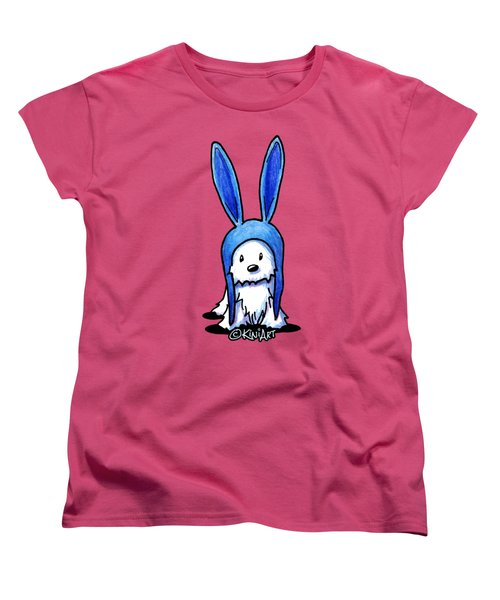 Rabbit Ears Westie Women's T-Shirt (Standard Cut) by Kim Niles