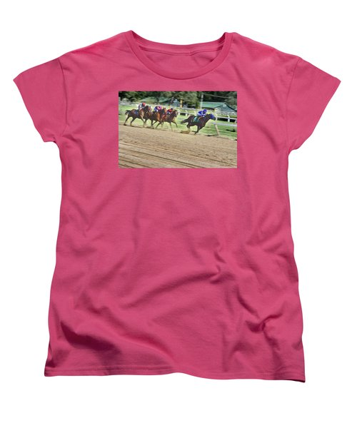 Race Horses In Motion Women's T-Shirt (Standard Cut) by Lise Winne