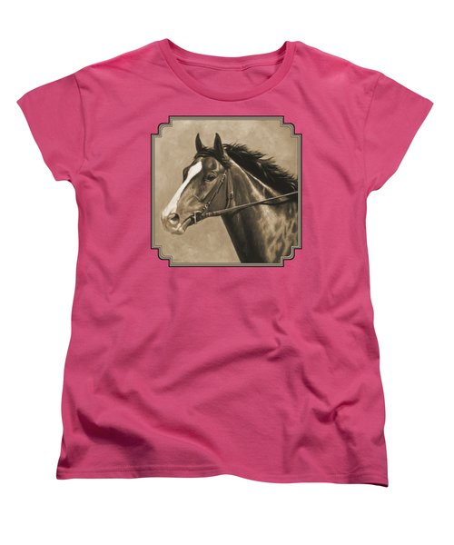 Racehorse Painting In Sepia Women's T-Shirt (Standard Cut) by Crista Forest