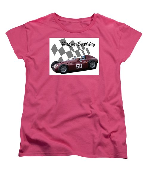 Women's T-Shirt (Standard Cut) featuring the photograph Racing Car Birthday Card 1 by John Colley