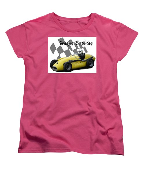 Women's T-Shirt (Standard Cut) featuring the photograph Racing Car Birthday Card 4 by John Colley