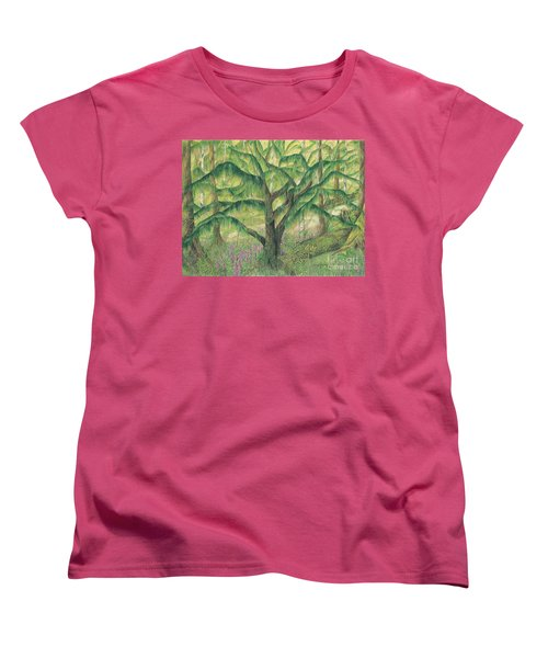 Women's T-Shirt (Standard Cut) featuring the painting Rain Forest Washington State by Vicki  Housel