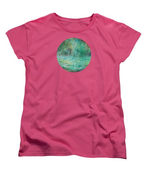 Women's T-Shirt (Standard Cut) featuring the painting Rain On The Pond by Mary Wolf