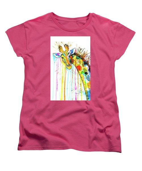 Women's T-Shirt (Standard Cut) featuring the painting Rainbow Giraffe by Zaira Dzhaubaeva
