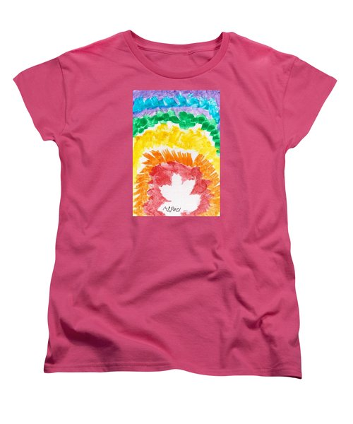 Women's T-Shirt (Standard Cut) featuring the painting Rainbow Leaf by Artists With Autism Inc