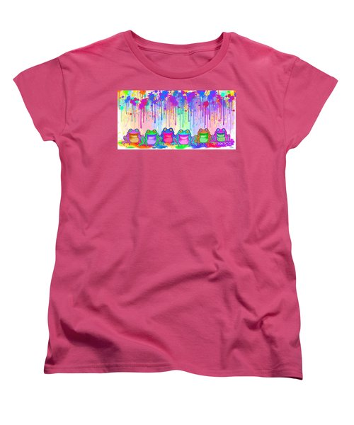 Women's T-Shirt (Standard Cut) featuring the painting Rainbow Of Painted Frogs by Nick Gustafson