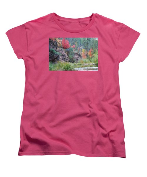 Rainbow Of The Season With River Women's T-Shirt (Standard Cut) by Heather Kirk