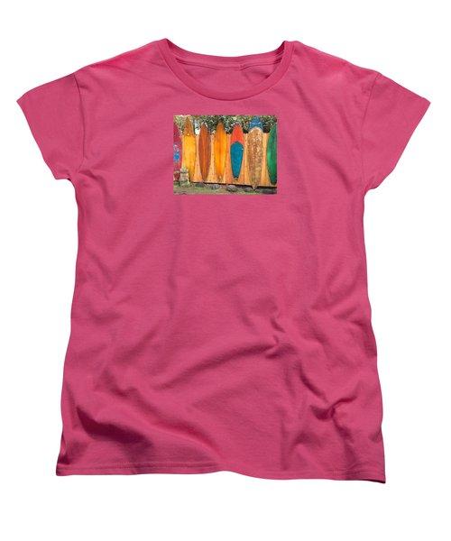 Women's T-Shirt (Standard Cut) featuring the photograph Surfboard Rainbow by Brenda Pressnall