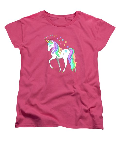 Rainbow Unicorn Clouds And Stars Women's T-Shirt (Standard Cut) by Crista Forest