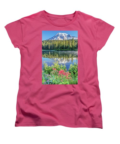 Women's T-Shirt (Standard Cut) featuring the photograph Rainier Wildflowers At Reflection Lake by Pierre Leclerc Photography