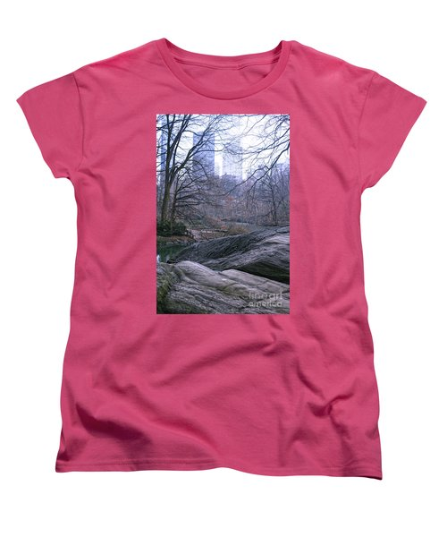 Women's T-Shirt (Standard Cut) featuring the photograph Rainy Day In Central Park by Sandy Moulder