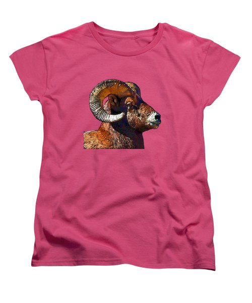 Ram Portrait - Rocky Mountain Bighorn Sheep  Women's T-Shirt (Standard Cut) by Lena  Owens OLena Art