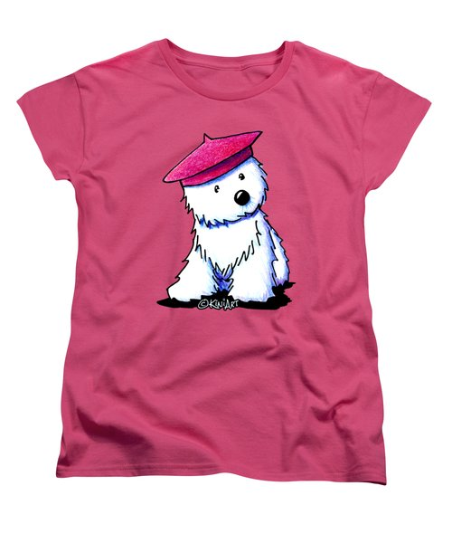 Raspberry Beret Westie Women's T-Shirt (Standard Cut) by Kim Niles