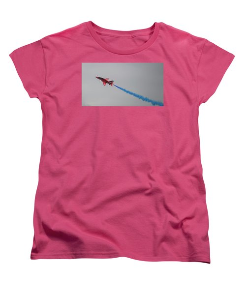 Women's T-Shirt (Standard Cut) featuring the photograph Red Arrow Blue Smoke - Teesside Airshow 2016 by Scott Lyons