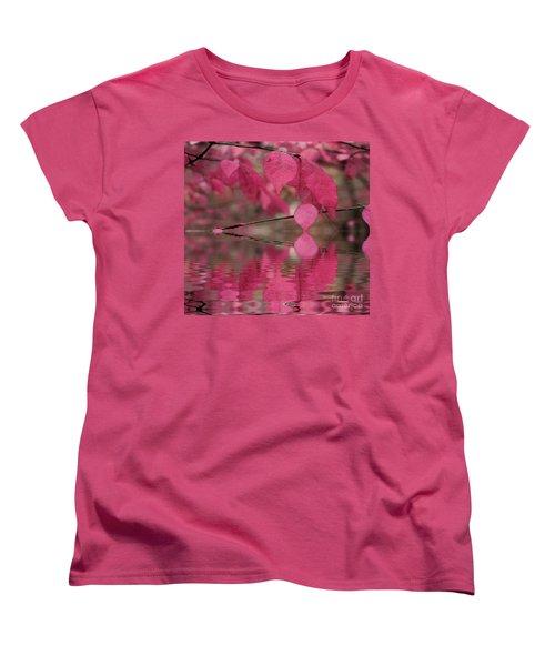 Red Autumn Leaf Reflections Women's T-Shirt (Standard Cut) by Judy Palkimas