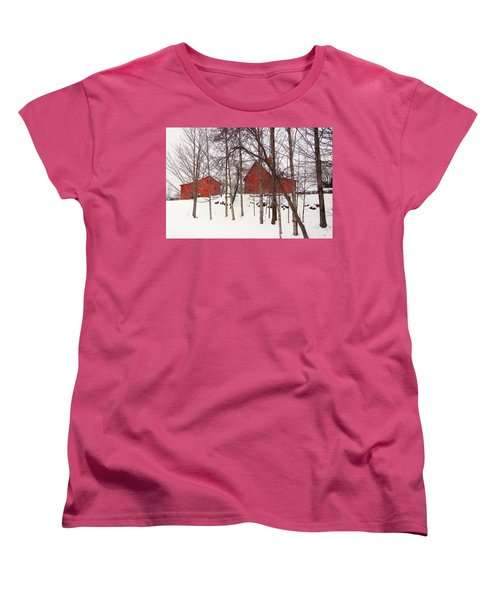 Red Barns Women's T-Shirt (Standard Cut) by Betsy Zimmerli
