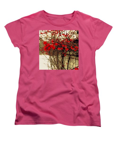 Red Berries In Winter Women's T-Shirt (Standard Cut) by Susan Lafleur