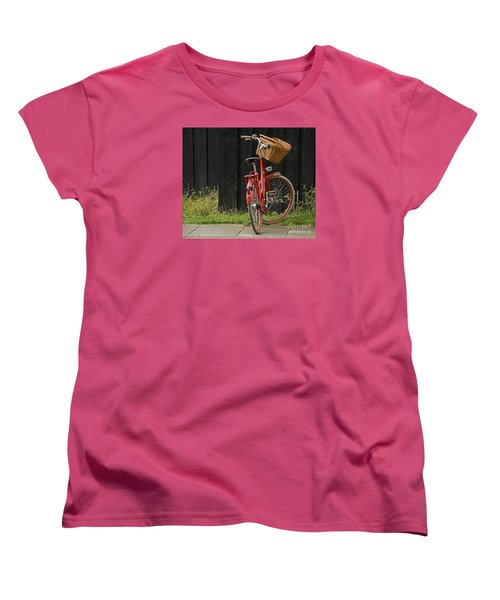 Women's T-Shirt (Standard Cut) featuring the photograph Red Bike by Inge Riis McDonald