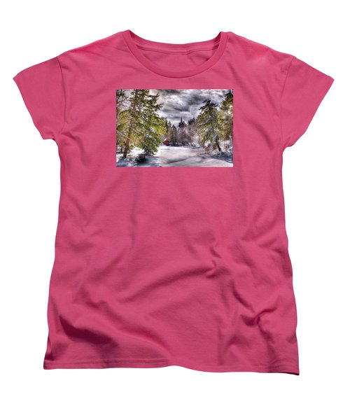 Women's T-Shirt (Standard Cut) featuring the photograph Red Boathouse After The Storm by David Patterson