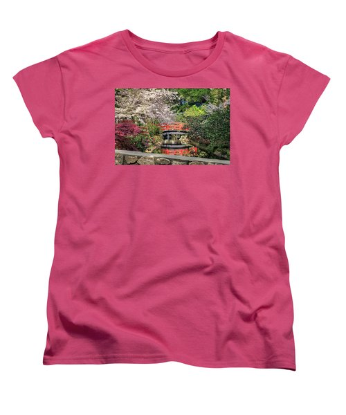 Red Bridge Spring Reflection Women's T-Shirt (Standard Cut) by James Eddy