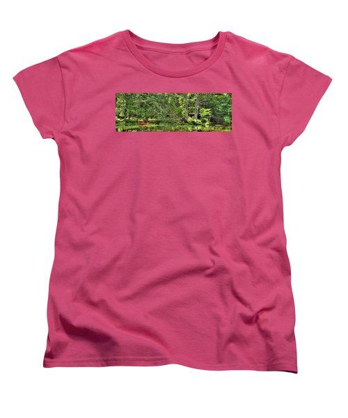 Women's T-Shirt (Standard Cut) featuring the photograph Red Canoe Panorama by David Patterson