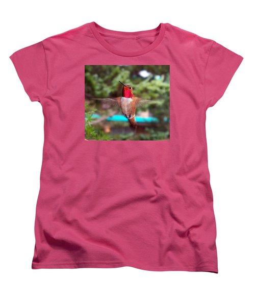 Red Hummingbird Women's T-Shirt (Standard Cut) by Joseph Frank Baraba