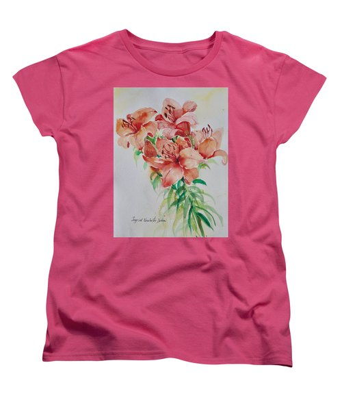 Red Lilies Women's T-Shirt (Standard Cut) by Alexandra Maria Ethlyn Cheshire