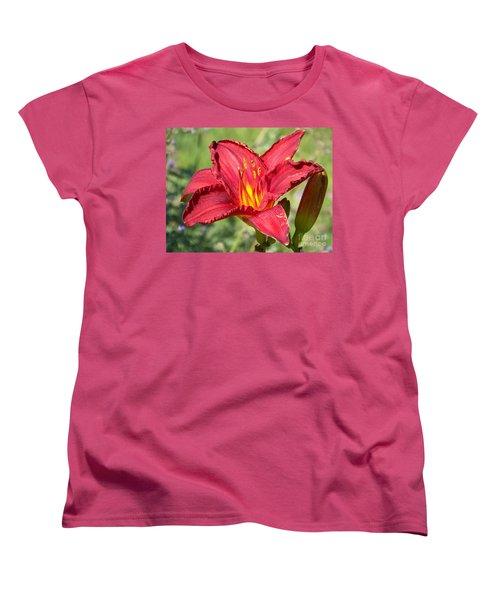 Women's T-Shirt (Standard Cut) featuring the photograph Red Flower by Eunice Miller