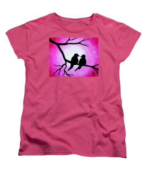 Red Love Birds Silhouette Women's T-Shirt (Standard Cut)