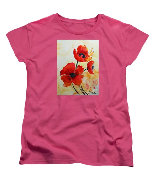Red Poppies Watercolor Women's T-Shirt (Standard Cut) by AmaS Art