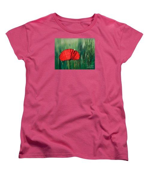 Women's T-Shirt (Standard Cut) featuring the photograph Red Poppy Flower by Jean Bernard Roussilhe