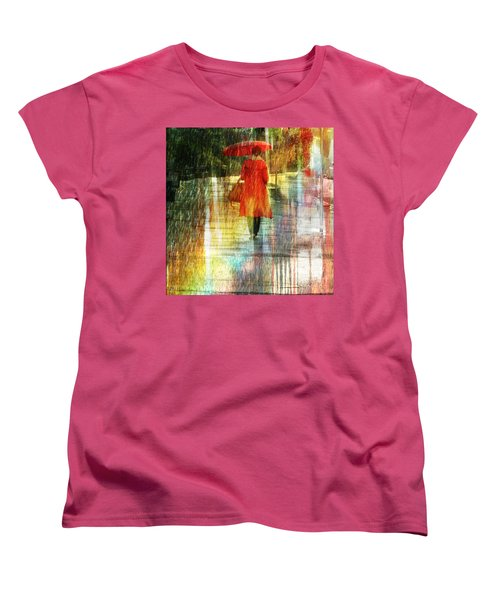 Women's T-Shirt (Standard Cut) featuring the photograph Red Rain Day by LemonArt Photography