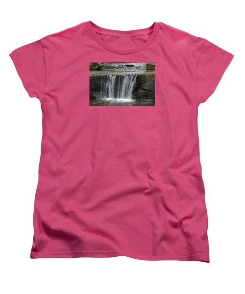 Women's T-Shirt (Standard Cut) featuring the photograph Red Run Waterfall by Randy Bodkins