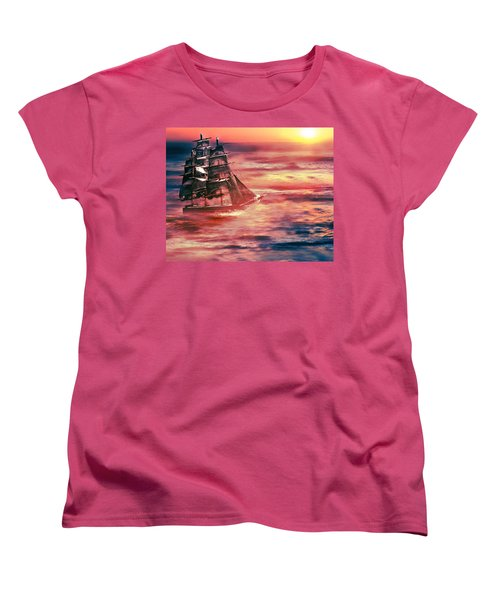Red Sky In The Morning.... Sailors Take Warning Women's T-Shirt (Standard Cut) by Gray  Artus