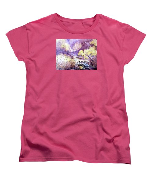 Women's T-Shirt (Standard Cut) featuring the painting Red Top Mountain Bridge by Gretchen Allen