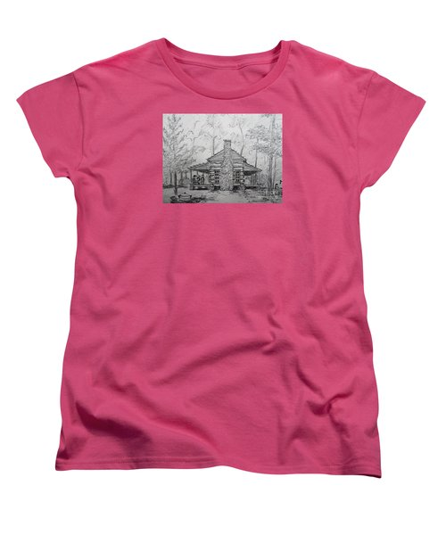Women's T-Shirt (Standard Cut) featuring the painting Red Top Mountain's Log Cabin by Gretchen Allen