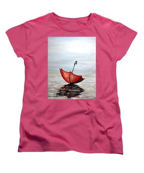 Women's T-Shirt (Standard Cut) featuring the painting Red Umbrella by Edwin Alverio