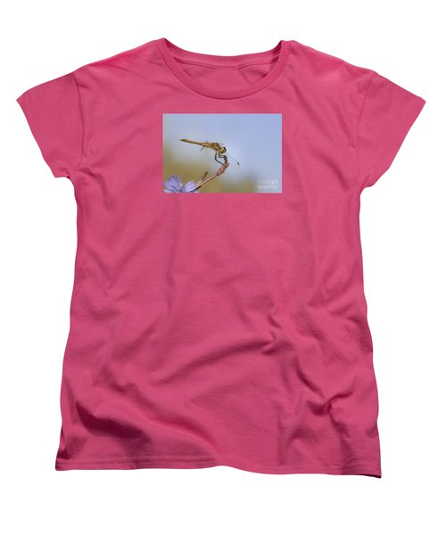 Women's T-Shirt (Standard Cut) featuring the photograph Red Veined Darter Dragonfly by Jivko Nakev