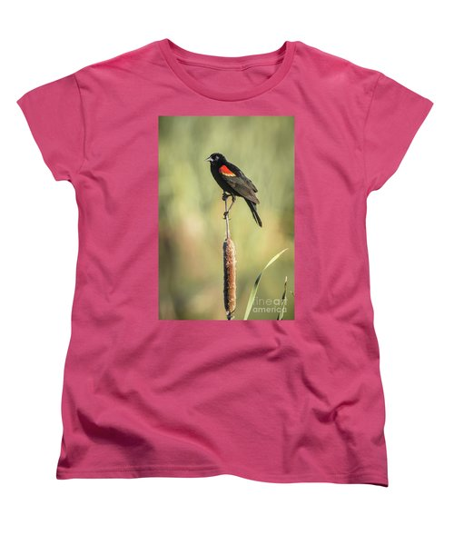 Women's T-Shirt (Standard Cut) featuring the photograph Red-wing On Cattail by Robert Frederick