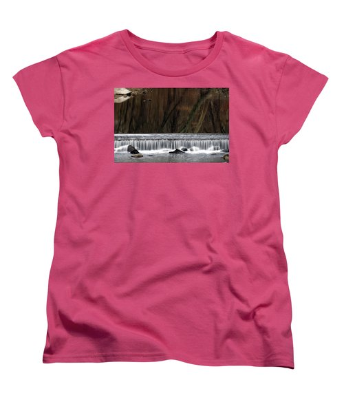 Women's T-Shirt (Standard Cut) featuring the photograph Reflections And Water Fall by Dorin Adrian Berbier