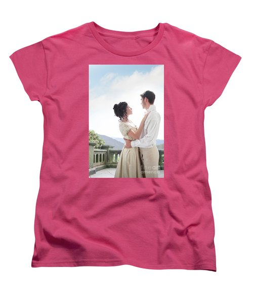 Regency Couple Embracing On The Terrace Women's T-Shirt (Standard Cut) by Lee Avison