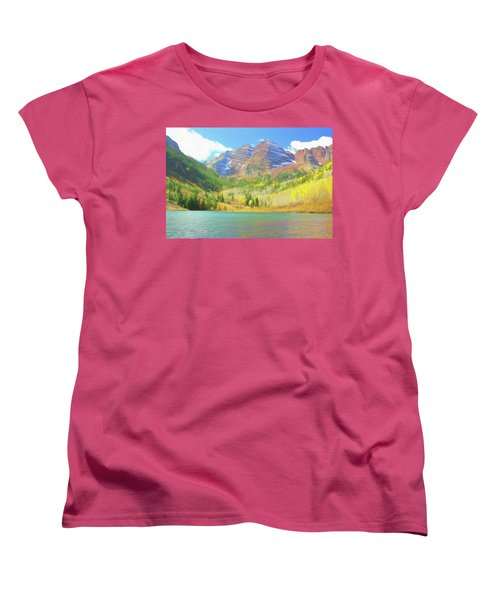Women's T-Shirt (Standard Cut) featuring the photograph The Maroon Bells Reimagined 1 by Eric Glaser