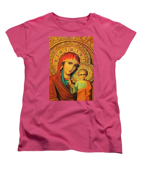 Religion In Red Women's T-Shirt (Standard Cut) by Munir Alawi