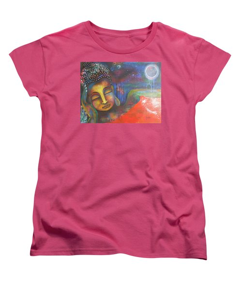 Women's T-Shirt (Standard Cut) featuring the painting Buddha Resting Under The Full Moon  by Prerna Poojara