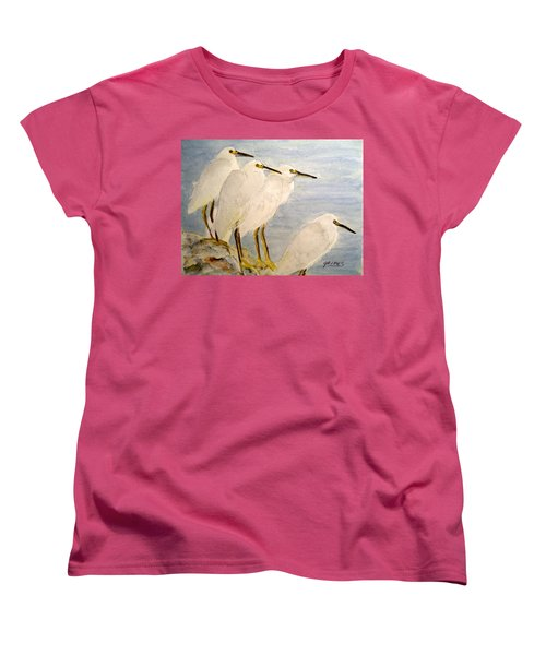 Women's T-Shirt (Standard Cut) featuring the painting Resting Egrets by Carol Grimes