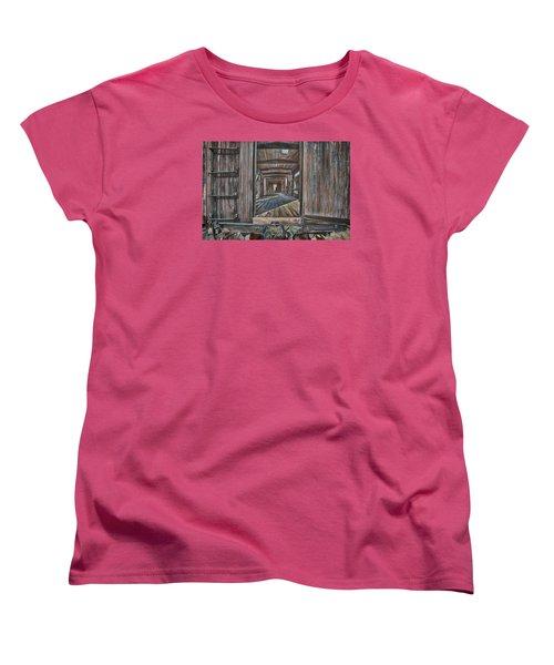 Women's T-Shirt (Standard Cut) featuring the photograph Retired Train Car Jamestown by Steve Siri